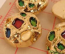 """6 large gold plastic shank buttons multicolor enamel design irregular shape 1.5"""""""
