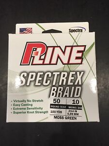 PLine Spectrex Braid 50lb Test 10lb Mono Dia. 100yrds Moss Green