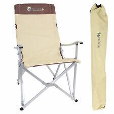 Camping Klappstuhl beige bis 150kg - Festivalsessel mit hoher Rückenlehne