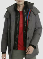 Tommy Hilfiger Men's Gray Full-Zip Hooded Logo Ski Down Jacket M Gray 0722