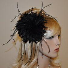 Fascinator Plumes Fleur Perles Noir Pince à cheveux Broche Parure pour épingle