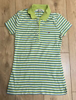 Tommy Hilfiger Women's Polo Shirt Green Striped XS 100% Cotton S/S