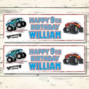 2 PERSONALISED MONSTER TRUCK BIRTHDAY BANNERS - ANY NAME - ANY AGE