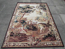 HAND MADE DESIGN FRANCESE ORIGINALE lana seta marrone Aubusson Arazzo 213X156cm