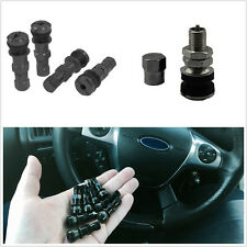 4 Pcs Bolt In Black Aluminum Car Vehicle Tubeless Wheel Tyre Valve Stem Dust Cap