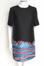 Alexander Wang Black Red Mountain Jacquard Shift Mini Oversized Dress 2 uk  6-8
