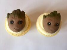 6 Guardians of Galaxy GROOT Marvel Handmade Edible Sugarpaste Cupcake Toppers