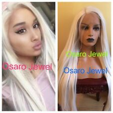 Ariana grande Light  platinum  blonde straight hair. lace front wig.human