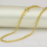 FINE 20 INCH Solid 18K Yellow Gold Necklace 2mm Rolo Link Chain Necklace Au750