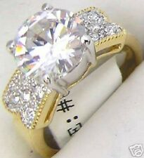 18K GOLD EP 3.5CT DIAMOND SIMULATED ENGAGEMENT  RING size 11 or V 1/2