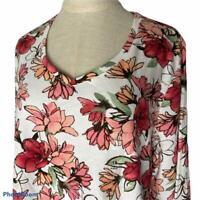 New Karen Scott Floral 3/4 Sleeve Top Shirt Womens Plus 1X Cotton V neck
