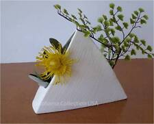 "Japanese Ikebana Vase 9""H Pyramid Form White Ceramic Flower Arranging/Made Japan"