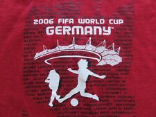 FIFA World Cup Germany 2006 T Shirt Red Soccer Licesnsed Tee Futbol Italy L