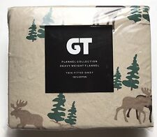 """Flannel TWIN FITTED SHEET by GT 100% Cotton 39"""" x 75""""-Moose-New"""