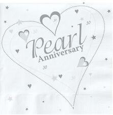 18 x Pearl Wedding Napkins 30th Wedding Anniversary Napkins Serviettes