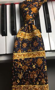 FUMAGALLI'S UOMO / Vintage Designer Silk Tie w/Gold & Navy Floral Baroque Bands
