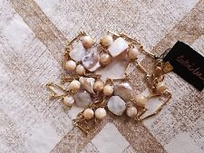 Cookie Lee Genuine Mother of Pearl Shell Glass Bead & Bar Link Necklace
