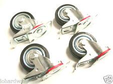 "4pcs 3"" Rubber castors wheels with brake(stop) brand new"