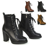 Womens Zip Up Ankle Boots Ladies Cleated Sole High Heel Lace Up Biker Booties