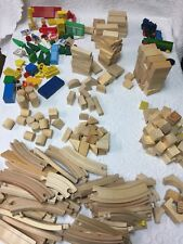 Lot of 100+ Assorted Pre-School Wooden Blocks and Train Set