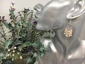Ladies Pierced Earringslight Beige Bicone Beads Silver Tone Hearts SS Ear Hooks