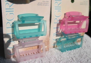 2 Covergirl Goody Marie Hair Claw Clips Plastic Jaw Thick Fix Blue Pink Purple