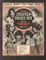 Ziegfeld Follies 1921 SALLY WON'T YOU COME BACK Show Vintage Sheet Music Q08