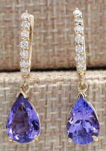 4.49 Carat Natural Tanzanite 14K Solid Yellow Gold Diamond Earrings