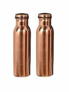 2 X 100% Pure Copper Water Bottle For Yoga Ayurveda Health Benefits 950 Ml