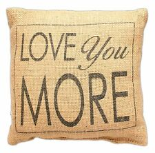 Love You More French Country Small Burlap Pillow 8