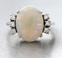 Lovely Ladies Estate Solid 14K White Gold Opal Cabochon Diamond Cocktail Ring