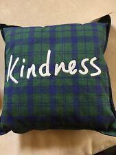 """""""KINDNESS"""" Pillow by Ellen Degeneres, blue plaids NEW"""