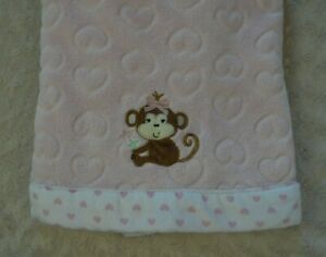 Little Me Monkey Baby Blanket Pink White Hearts Edge Trim Brown Tan Bow Flower