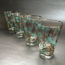 David Douglas Turquoise Pinecone And Gold Vintage Mid Century Glasses Tumblers