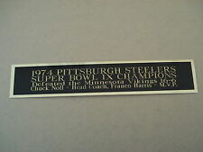 Pittsburgh Steelers Super Bowl 9 Nameplate For A Football Jersey Case 1.5 X 6
