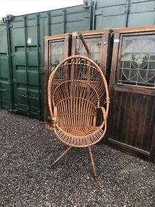 Vintage Bamboo Hanging Egg Chair Frame Retro 1960s Hippy Boho Garden / Indoor