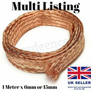 1 Meter x 6-15mm Flat Pure Copper Braid Cable Bare Copper Braid Wire Ground Lead