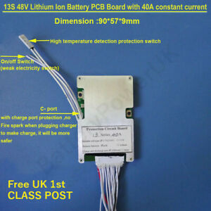 13s 48V bms 40A constant current - ON/Off switch UK Stock High Quality Hailong