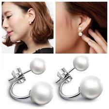 Crystal Rhinestone Jewelry Earrings Double Pearl Ear Stud