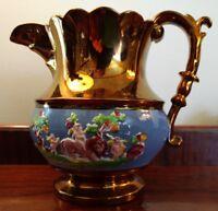 Antique Italian Majolica Capodimonti Pitcher Copper Luster Ware Cherubs C1800s
