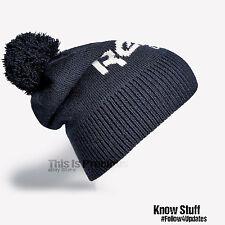 New Reebok Classic Retro Cap Wool Knit Ribbed Pom Pom Bobble Fold Up Beanie Hat