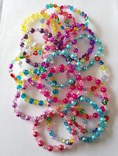 New Handmade Ladies Girls 20 Glass Pearl Acrylic Elasticated Stretchy Bracelets