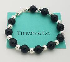 """Tiffany & Co. Sterling Silver 10 mm Black Onyx & Bead Bracelet 8"""" in"""