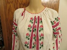 NM Antique  Ukrainian or Romanian  Folk Hand Embroidered Blouse Ukraine Romania