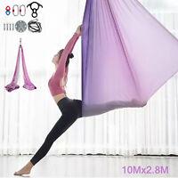 Aerial Silks Yoga Swing Kit Anti-gravity Fitness Strength Training 10x2.8m