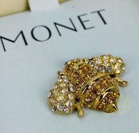Vintage Monet Bumble Bee Brooch Rhinestone Gold Tone In Box