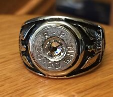 Remington 30-30 Caliber Bullet Casing Men's Biker Ring Sz 12 With Clear Crystal