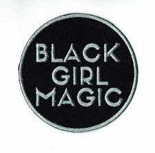 Black Magic Girl Iron-On Embroidered Patch Silver Decorative Woman Power