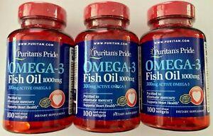 3 X Puritan's Pride Omega-3 Fish Oil 1000 mg (300mg Active Omega-3) 300 Softgels