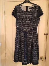 Gorgeous Betty Jackson Black BNWOT navy lace overlay dress size 16